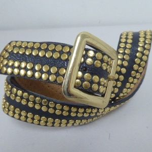 STREETS AHEAD ITALY Leather BRASS STUDDED Belt M